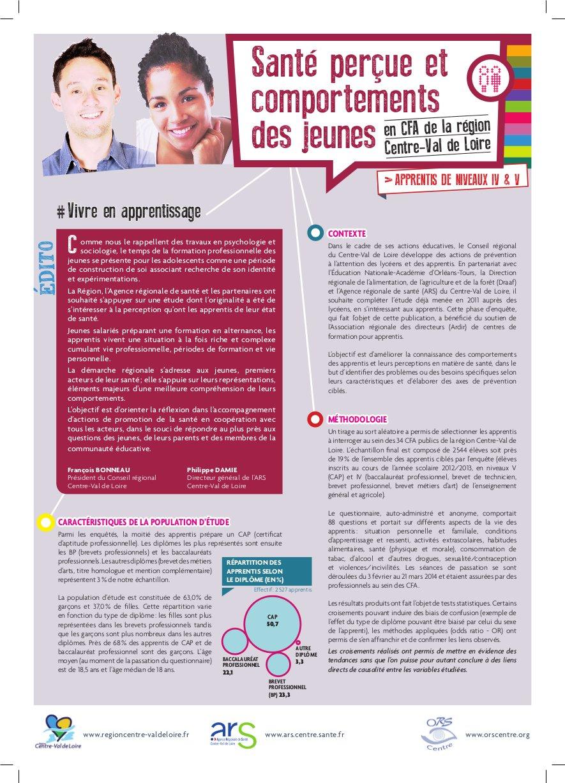 Couverture Plaquette : Santé perçue et comportements des jeunes en CFA de la région Centre-Val de Loire