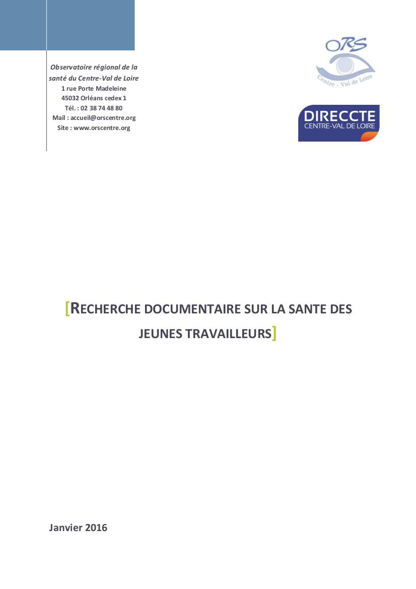 """Couverture """"Recherche documentaire sur la santé des jeunes travailleurs"""""""